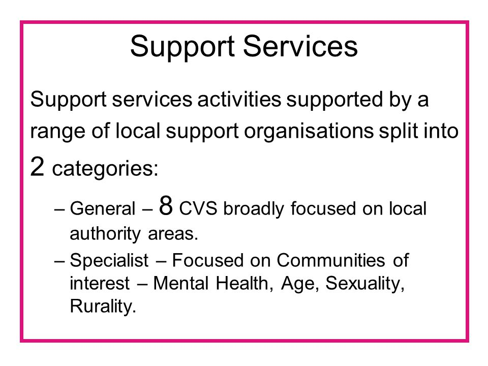 Support Services Support services activities supported by a range of local support organisations split into 2 categories: –General – 8 CVS broadly focused on local authority areas.