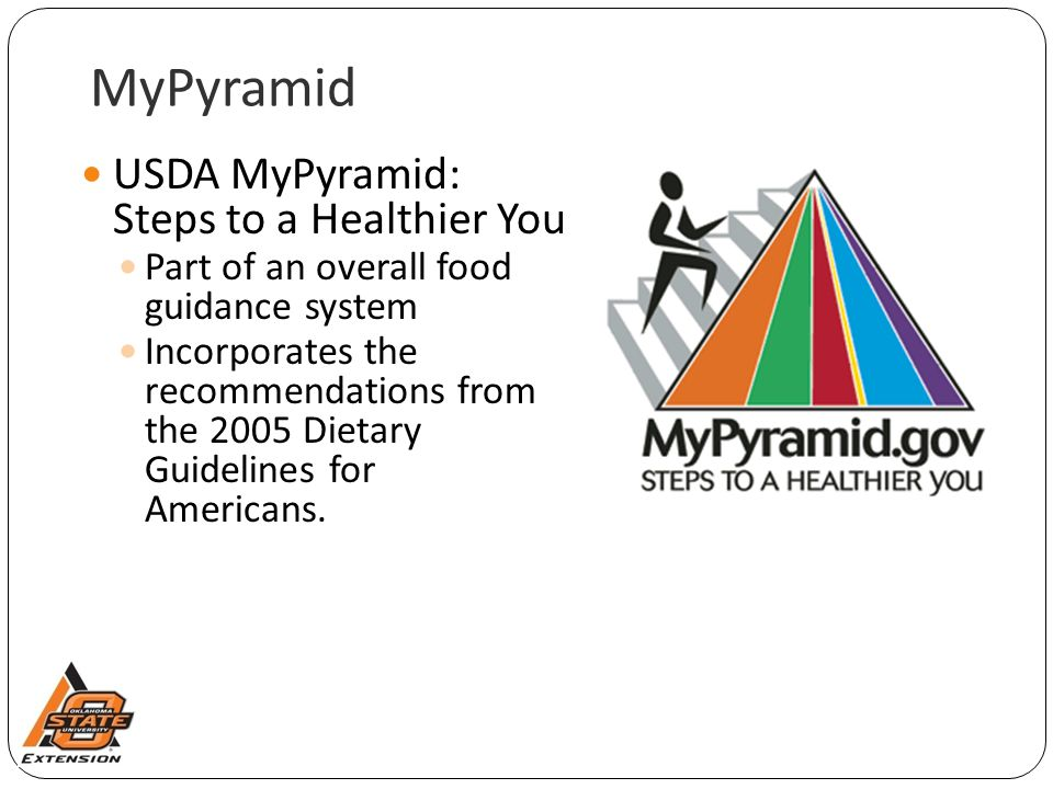 MyPyramid USDA MyPyramid: Steps to a Healthier You Part of an overall food guidance system Incorporates the recommendations from the 2005 Dietary Guidelines for Americans.