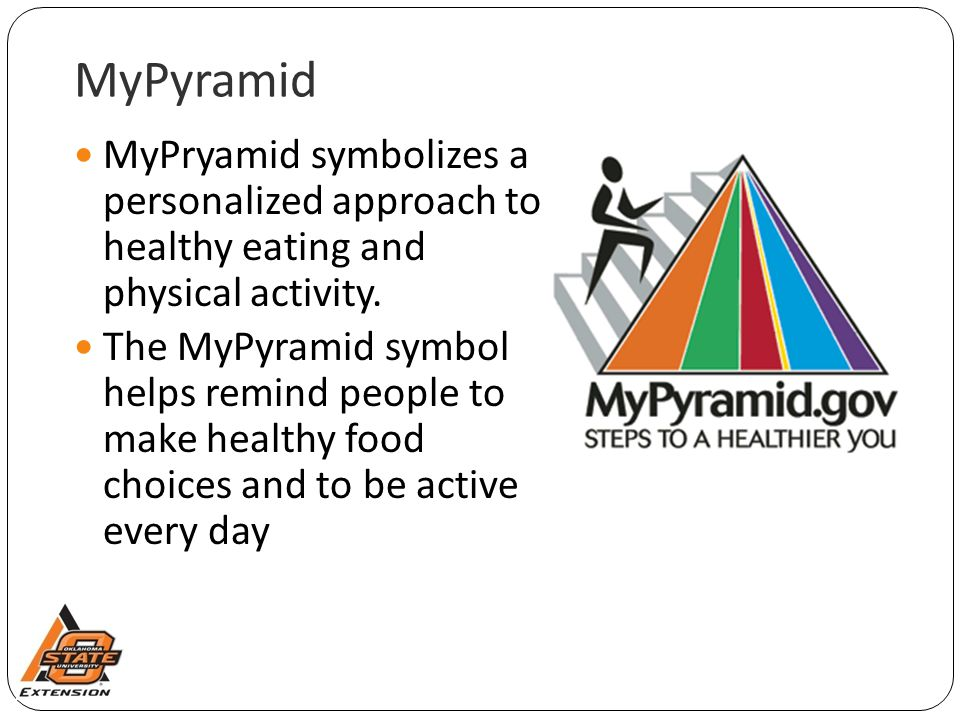 MyPyramid MyPryamid symbolizes a personalized approach to healthy eating and physical activity.