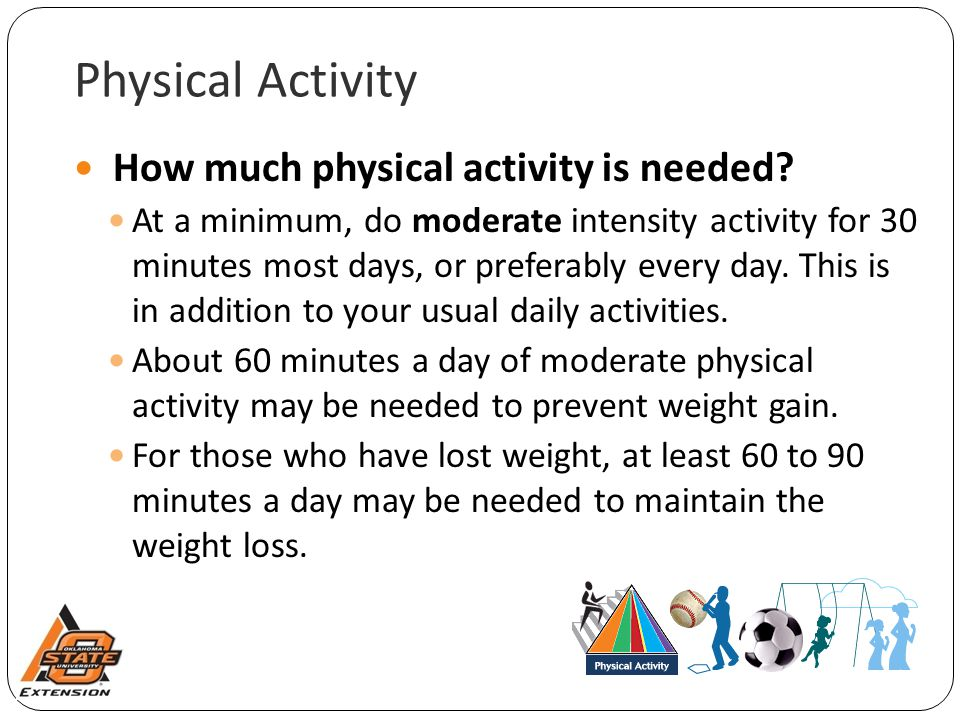 Physical Activity How much physical activity is needed.