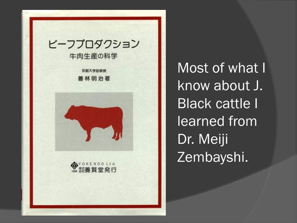 Most of what I know about J. Black cattle I learned from Dr. Meiji Zembayshi.