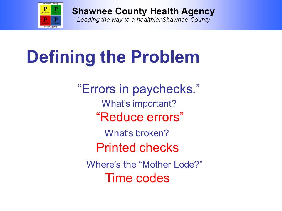 Shawnee County Health Agency Leading the way to a healthier Shawnee County Defining the Problem Errors in paychecks. Reduce errors What's broken.