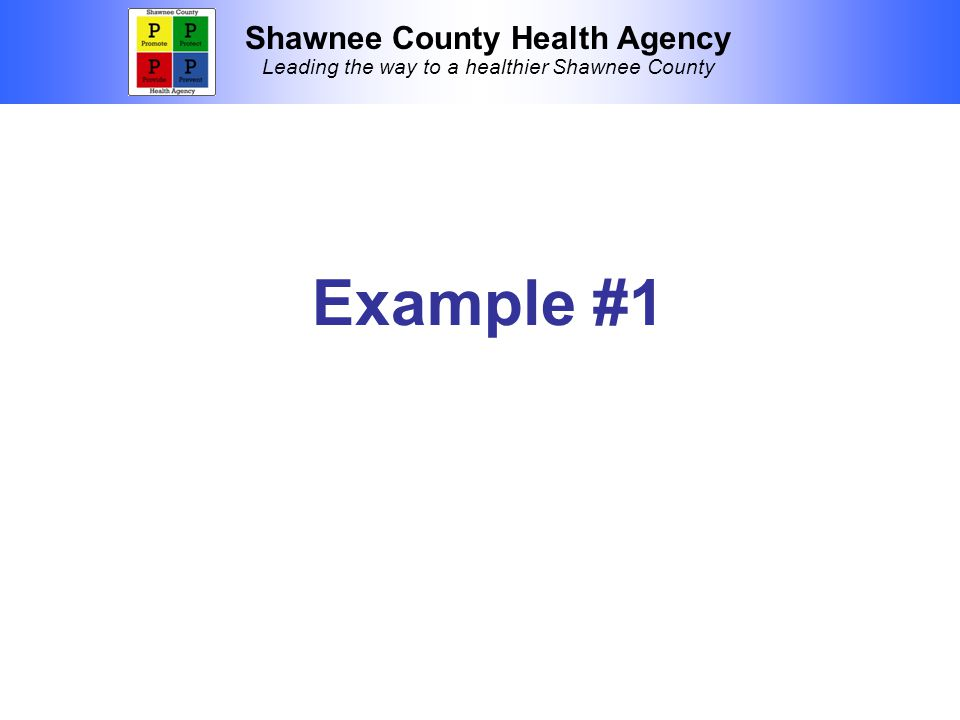 Shawnee County Health Agency Leading the way to a healthier Shawnee County Example #1