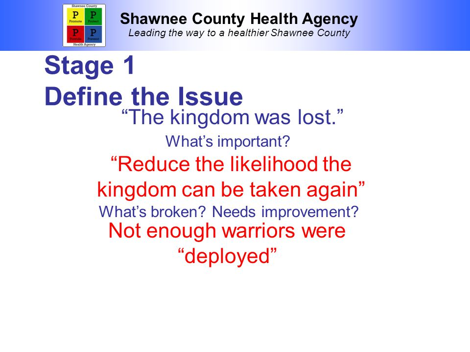 Shawnee County Health Agency Leading the way to a healthier Shawnee County Stage 1 Define the Issue The kingdom was lost. Reduce the likelihood the kingdom can be taken again What's important.