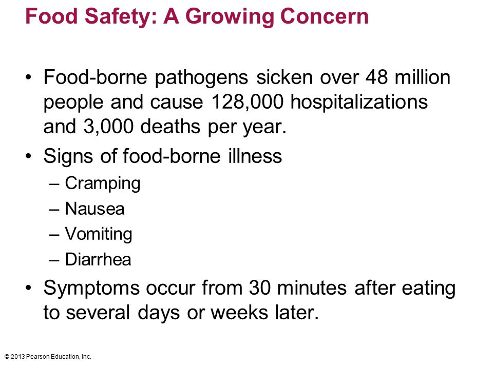 © 2013 Pearson Education, Inc. Food Safety: A Growing Concern Food-borne pathogens sicken over 48 million people and cause 128,000 hospitalizations an