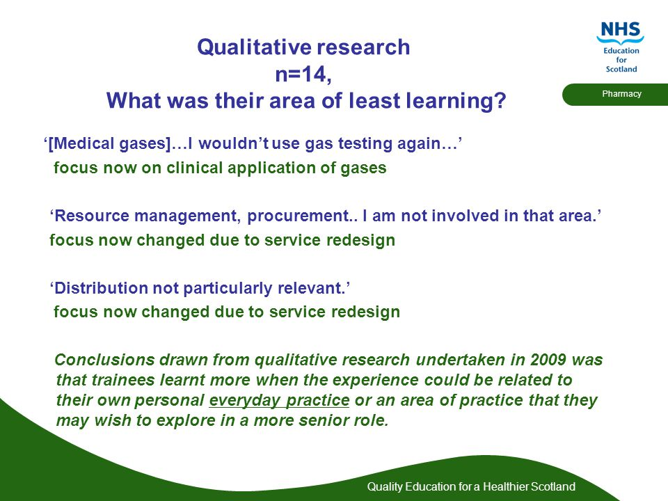 Quality Education for a Healthier Scotland Pharmacy Qualitative research n=14, What was their area of least learning.