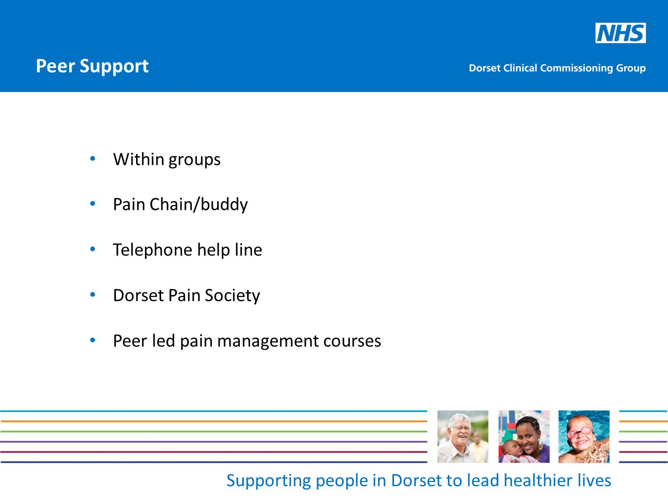 Supporting people in Dorset to lead healthier lives Within groups Pain Chain/buddy Telephone help line Dorset Pain Society Peer led pain management courses Peer Support