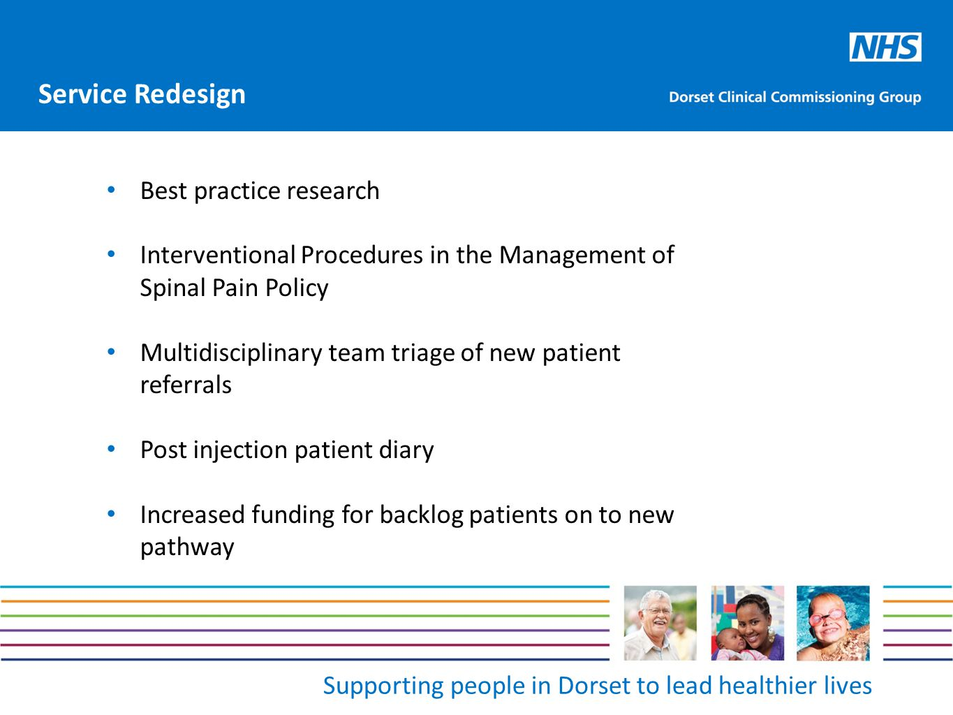 Supporting people in Dorset to lead healthier lives Best practice research Interventional Procedures in the Management of Spinal Pain Policy Multidisc