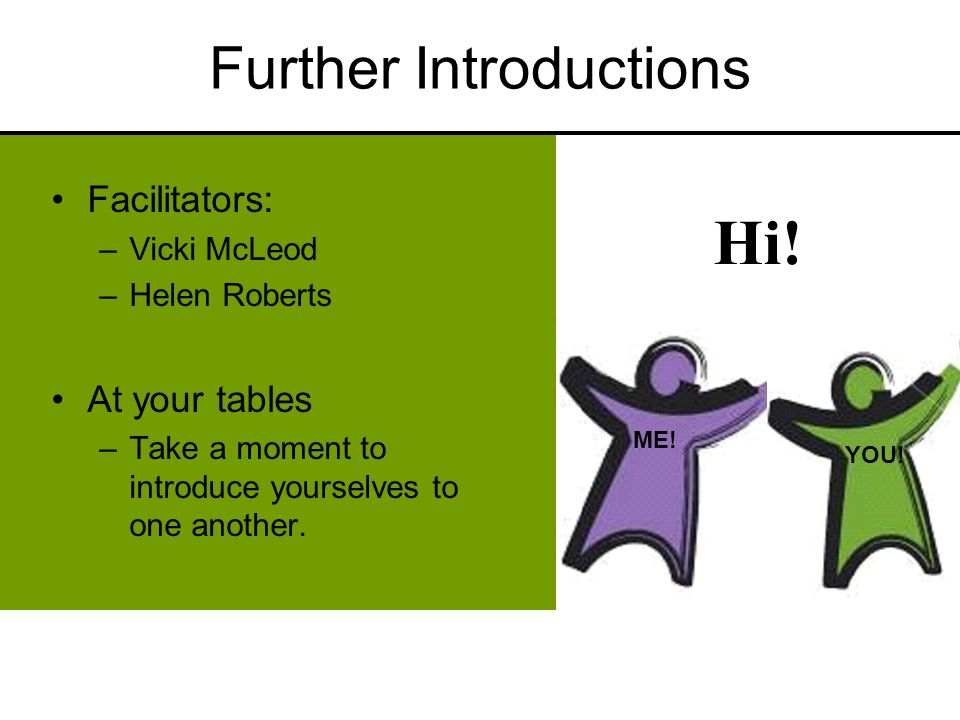Hi! Further Introductions Facilitators: –Vicki McLeod –Helen Roberts At your tables –Take a moment to introduce yourselves to one another. ME! YOU!