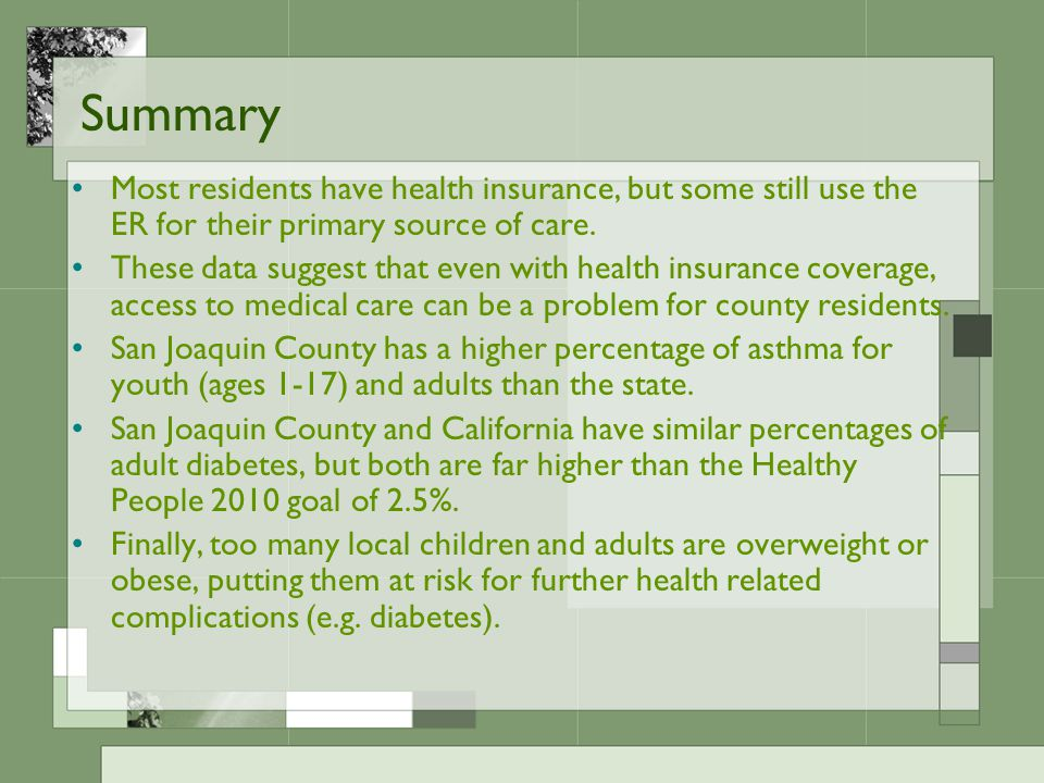 Summary Most residents have health insurance, but some still use the ER for their primary source of care.