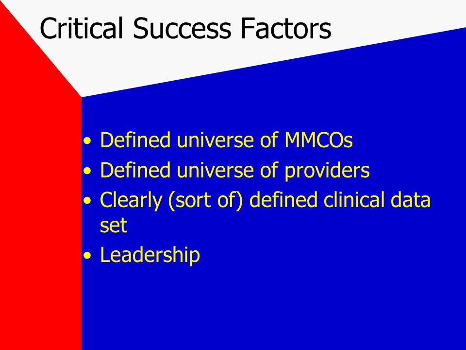 Critical Success Factors Defined universe of MMCOs Defined universe of providers Clearly (sort of) defined clinical data set Leadership