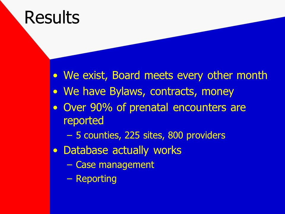 Results We exist, Board meets every other month We have Bylaws, contracts, money Over 90% of prenatal encounters are reported –5 counties, 225 sites, 800 providers Database actually works –Case management –Reporting
