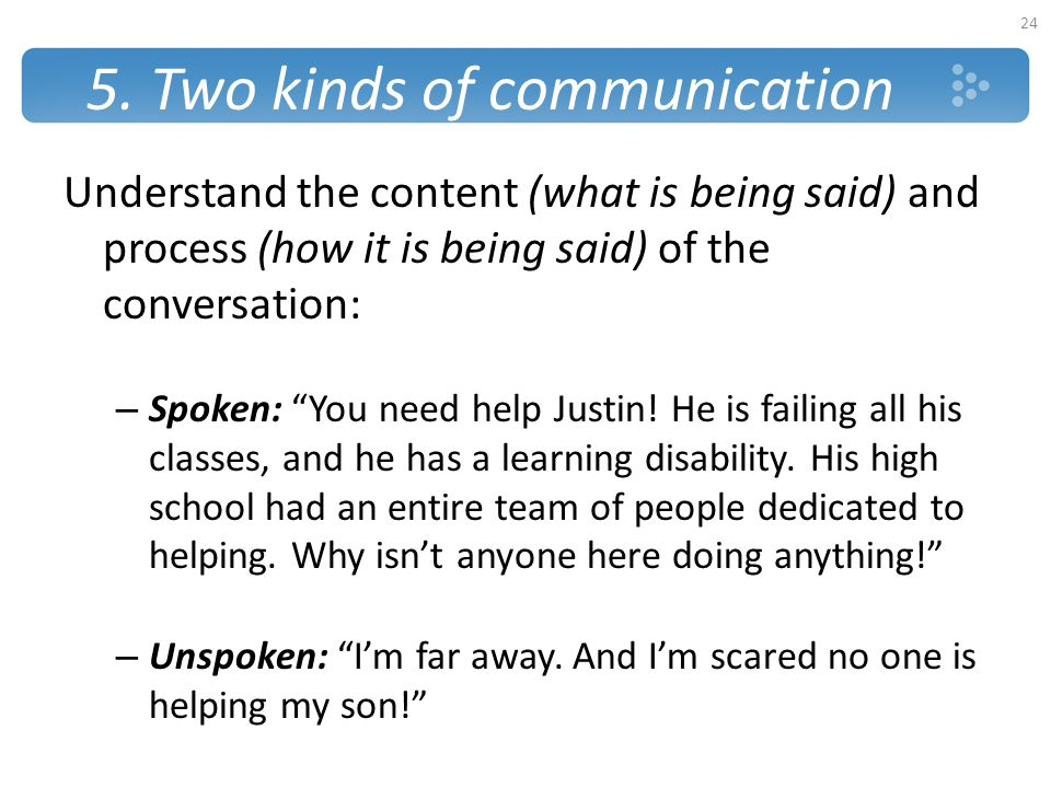 """5. Two kinds of communication Understand the content (what is being said) and process (how it is being said) of the conversation: – Spoken: """"You need"""