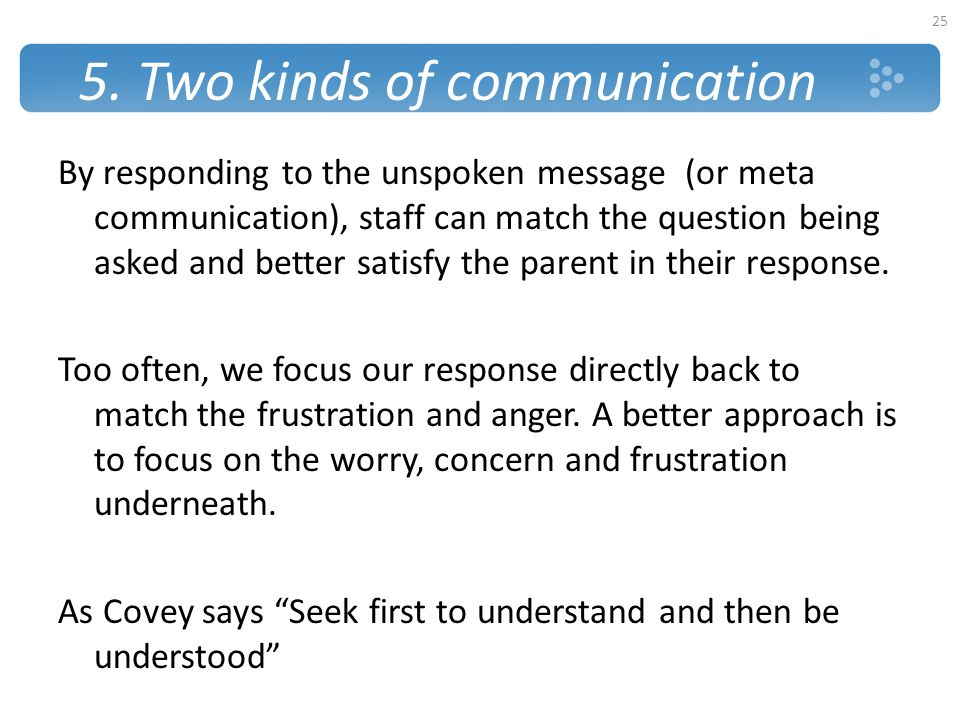 5. Two kinds of communication By responding to the unspoken message (or meta communication), staff can match the question being asked and better satis