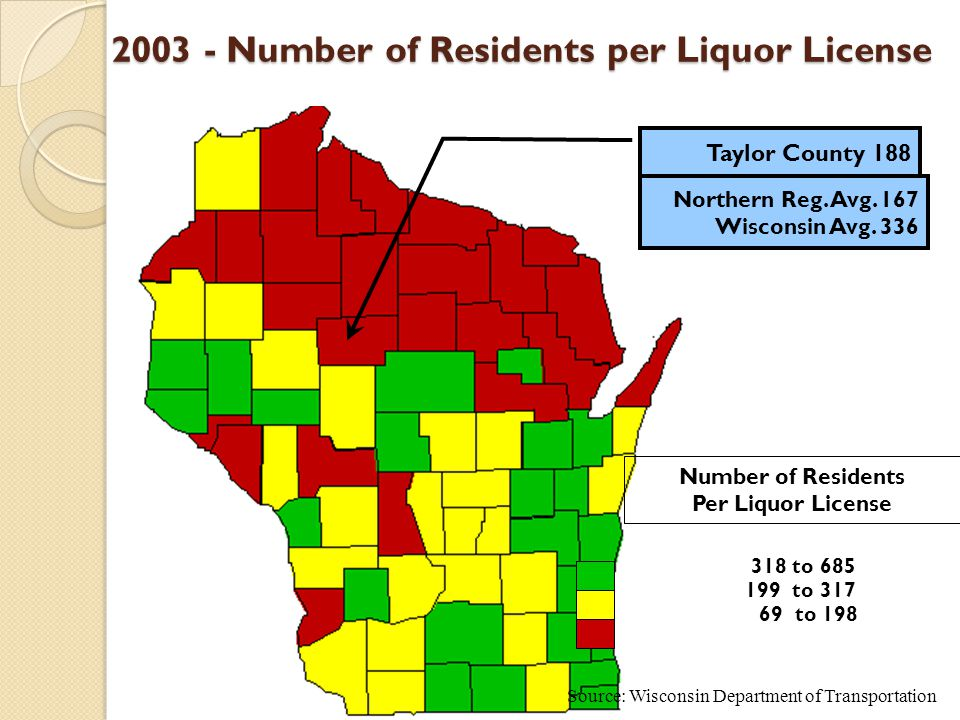 69 to 198 199 to 317 318 to 685 2003 - Number of Residents per Liquor License 2003 - Number of Residents per Liquor License Northern Reg.