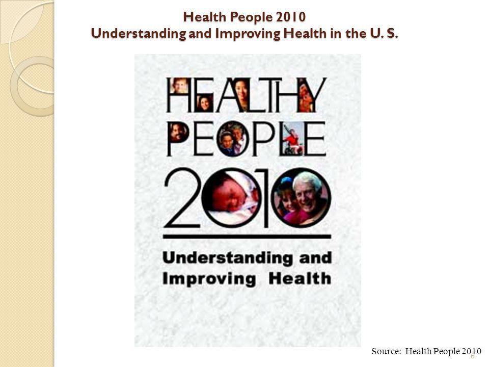 6 Health People 2010 Understanding and Improving Health in the U. S. Source: Health People 2010