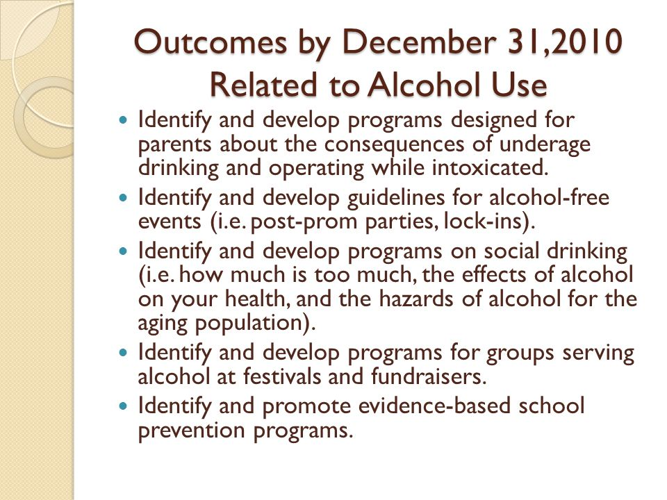 Outcomes by December 31,2010 Related to Alcohol Use Identify and develop programs designed for parents about the consequences of underage drinking and