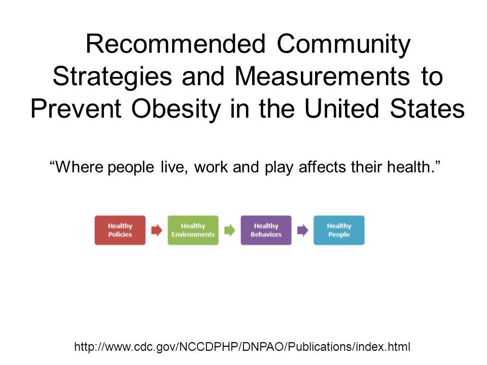 "Recommended Community Strategies and Measurements to Prevent Obesity in the United States http://www.cdc.gov/NCCDPHP/DNPAO/Publications/index.html ""Wh"