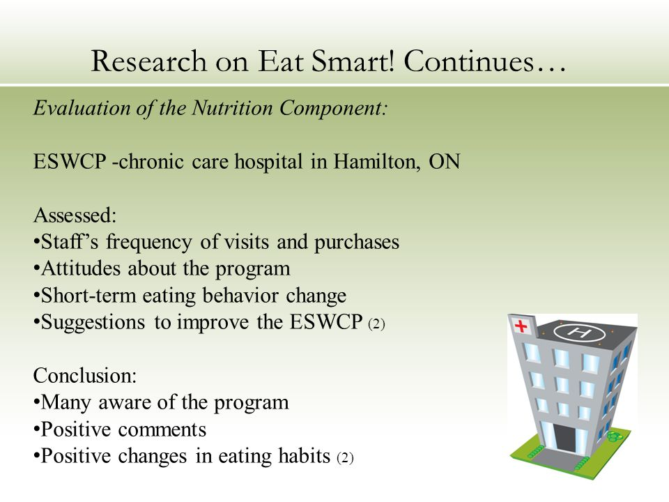 Evaluation of the Nutrition Component: ESWCP -chronic care hospital in Hamilton, ON Assessed: Staff's frequency of visits and purchases Attitudes about the program Short-term eating behavior change Suggestions to improve the ESWCP (2) Conclusion: Many aware of the program Positive comments Positive changes in eating habits (2) Research on Eat Smart.