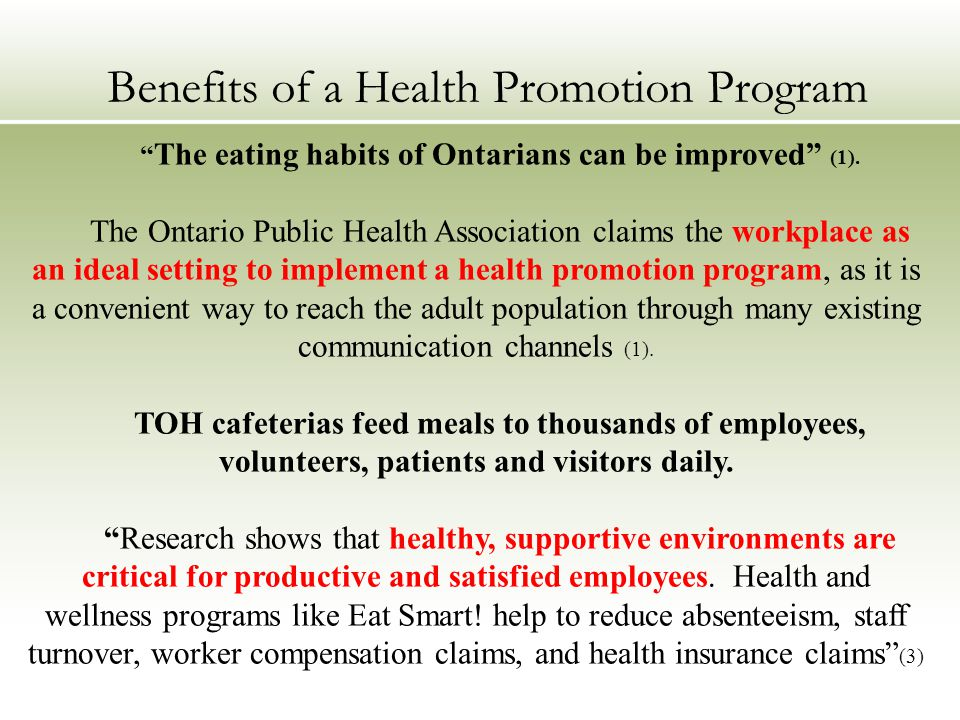 The eating habits of Ontarians can be improved (1).