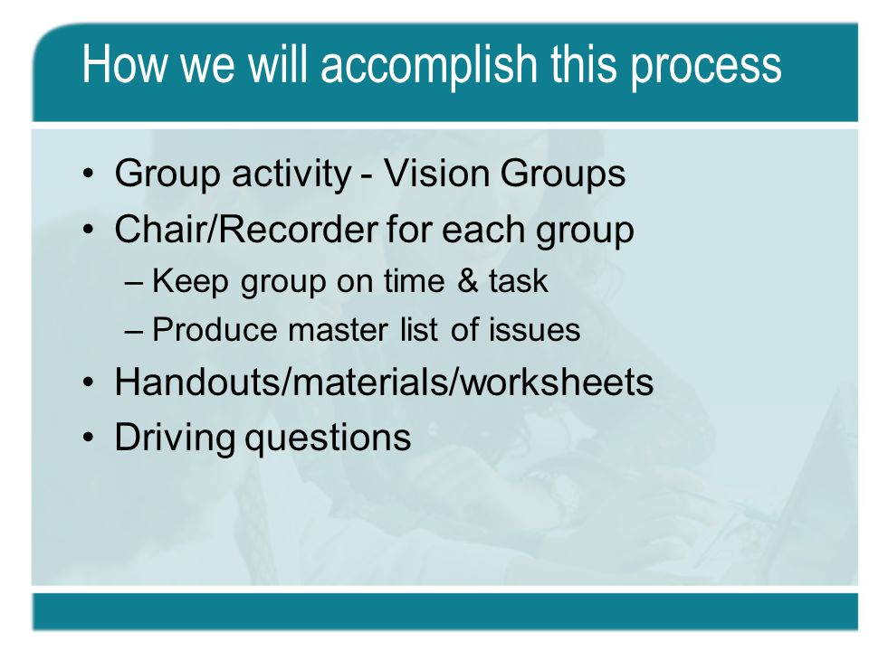 How we will accomplish this process Group activity - Vision Groups Chair/Recorder for each group –Keep group on time & task –Produce master list of issues Handouts/materials/worksheets Driving questions