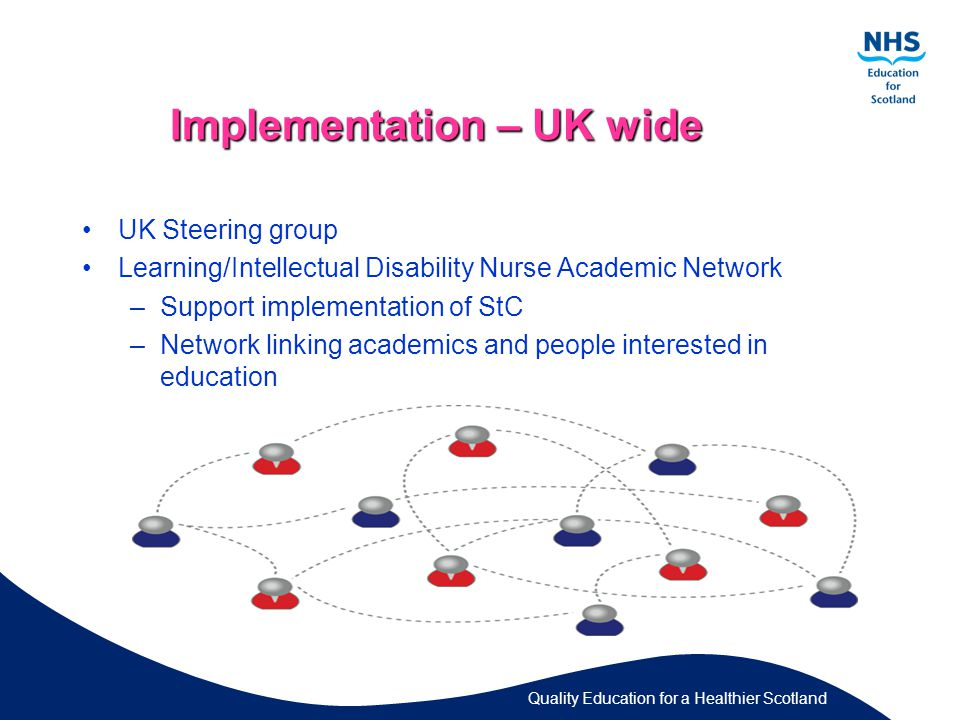 Quality Education for a Healthier Scotland Implementation – UK wide UK Steering group Learning/Intellectual Disability Nurse Academic Network –Support implementation of StC –Network linking academics and people interested in education
