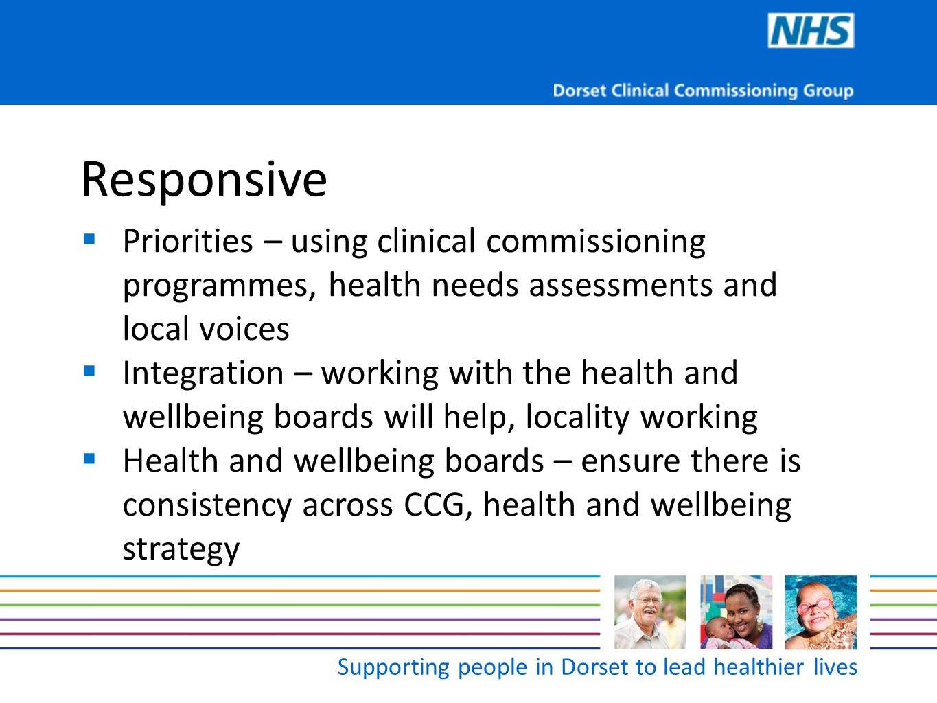 Supporting people in Dorset to lead healthier lives Responsive  Priorities – using clinical commissioning programmes, health needs assessments and lo