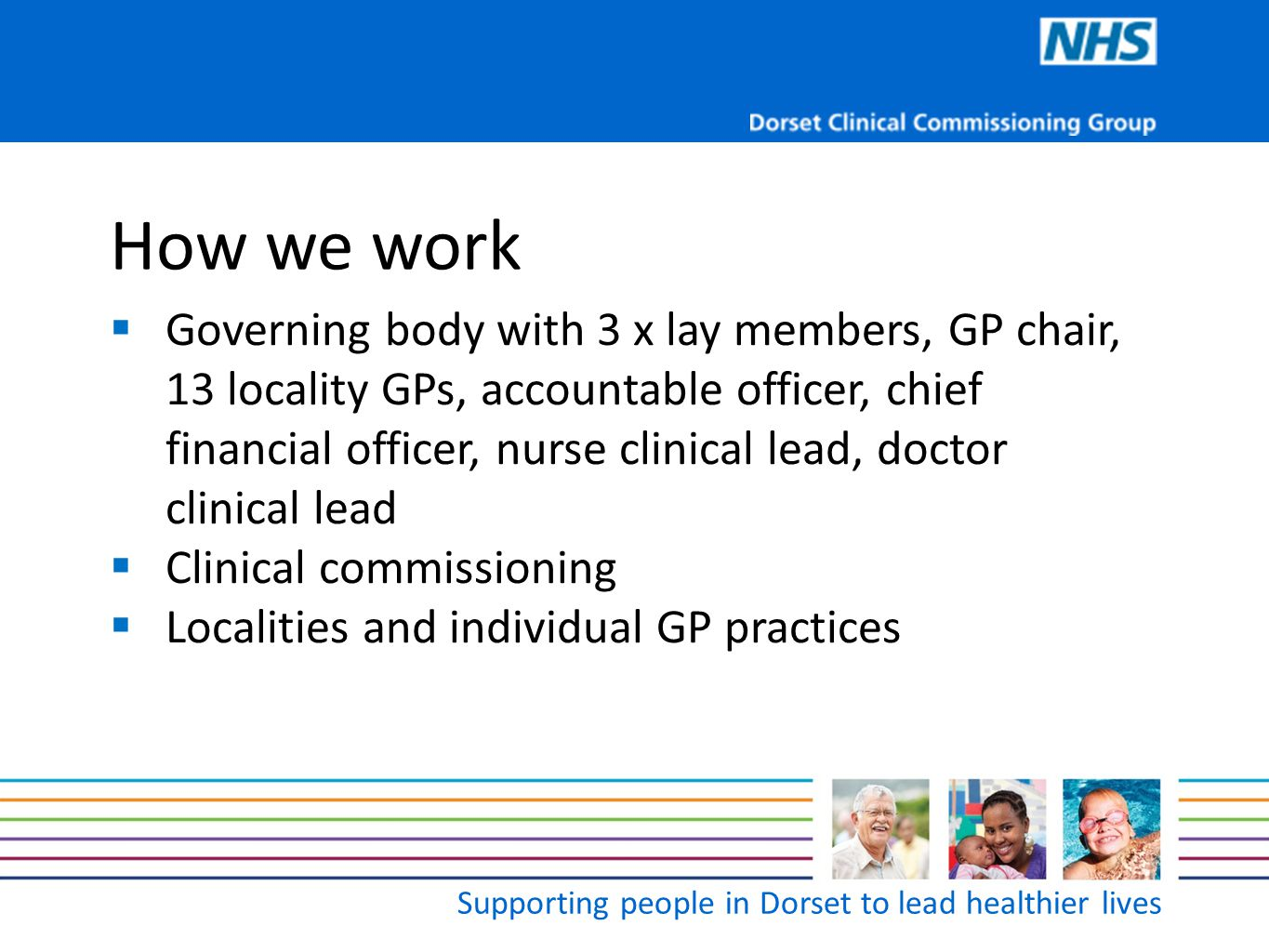 Supporting people in Dorset to lead healthier lives Progress to date  Structure and governance - constitution  Clinical commissioning programmes  Cancer and end of life  General medical  Maternity, family and sexual health  CVD, stroke and diabetes  Musculo skeletal and trauma  Mental health and learning disabilities