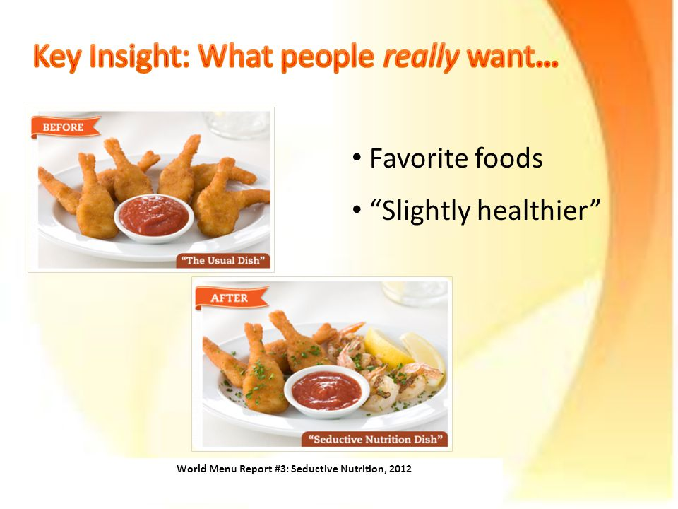 World Menu Report #3: Seductive Nutrition, 2012 Favorite foods Slightly healthier