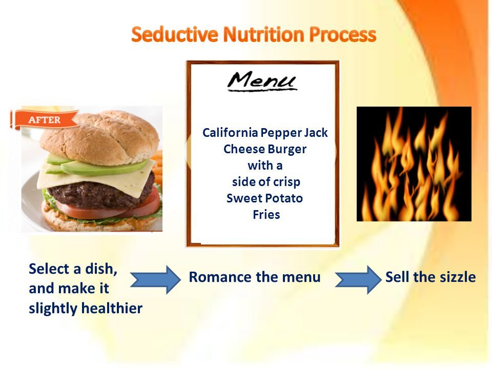 Select a dish, and make it slightly healthier Romance the menuSell the sizzle Cheese Burger with Fries California Pepper Jack Cheese Burger with a side of crisp Sweet Potato Fries