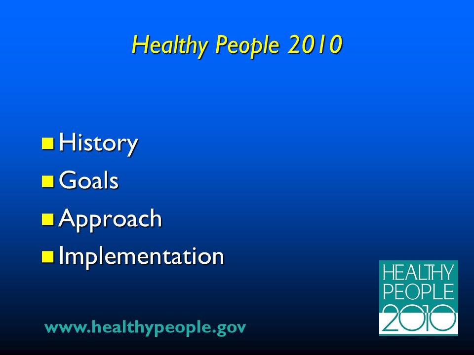 Healthy People 2010 History History Goals Goals Approach Approach Implementation Implementation www.healthypeople.gov
