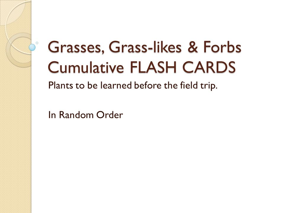 Grasses, Grass-likes & Forbs Cumulative FLASH CARDS Plants to be learned before the field trip.