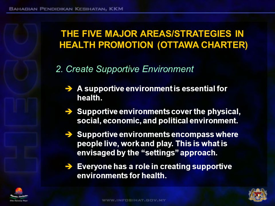  According to the Ottawa Charter, health promotion works through concrete and effective community action in setting priorities, making decisions, planning strategies and implementing them to achieve better health .