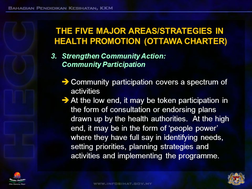Full community participation occurs when communities participate in equal partnership with health professionals as stakeholders in setting the health agenda.