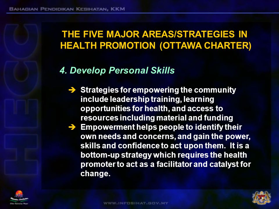  Skills which can promote an individual's health include those pertaining to identifying, selecting and applying healthy options in daily life.