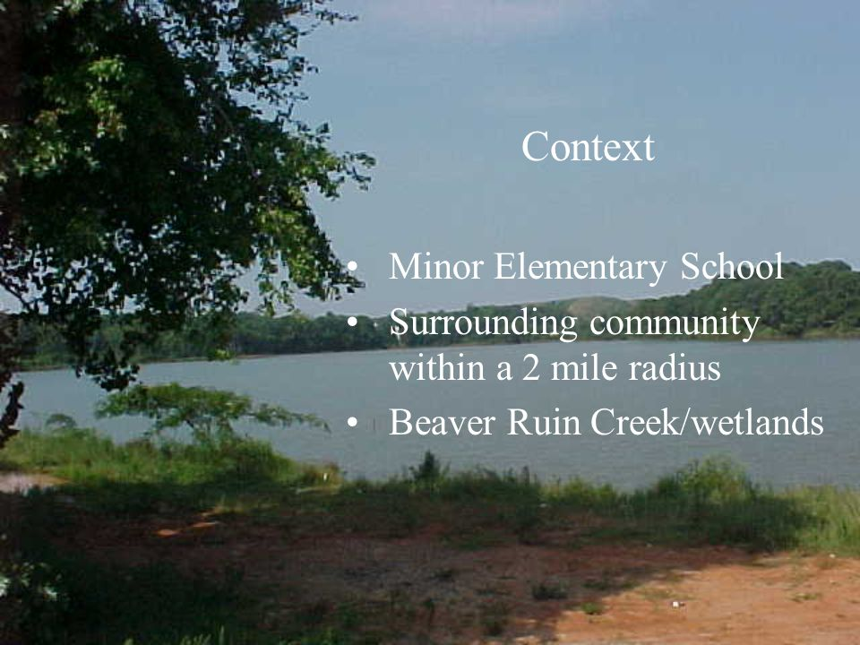 Context Minor Elementary School Surrounding community within a 2 mile radius Beaver Ruin Creek/wetlands