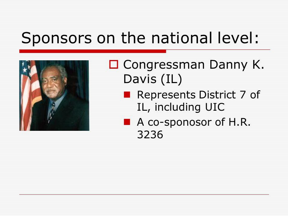  Congressman Danny K. Davis (IL) Represents District 7 of IL, including UIC A co-sponosor of H.R.