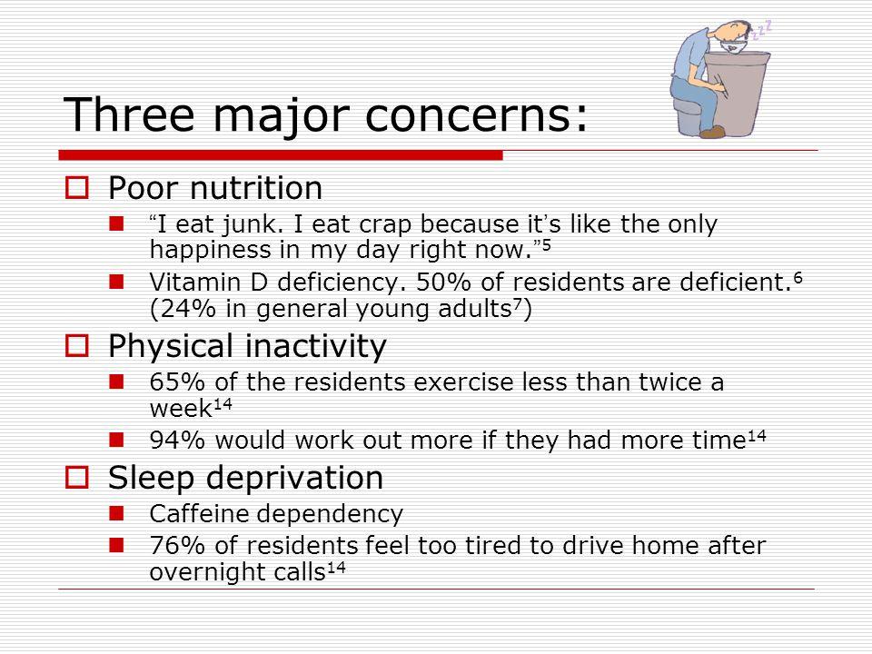 Three major concerns:  Poor nutrition I eat junk.