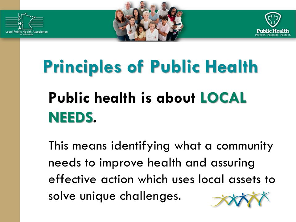 Principles of Public Health LOCAL NEEDS Public health is about LOCAL NEEDS. This means identifying what a community needs to improve health and assuri