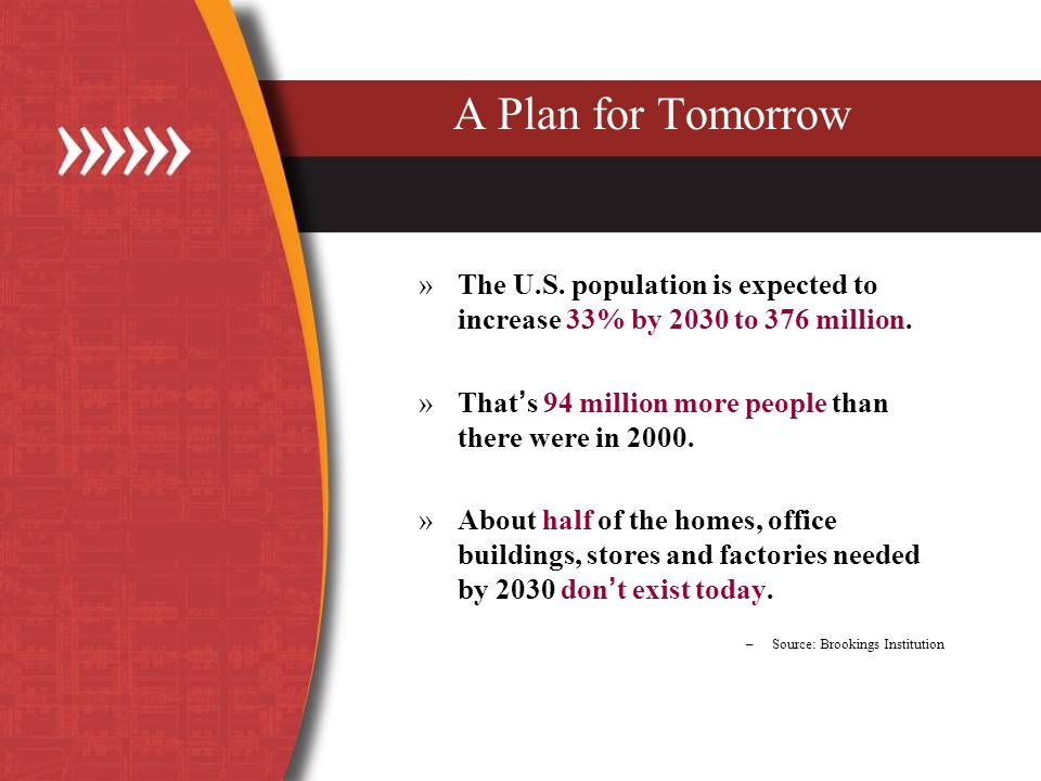 A Plan for Tomorrow »The U.S. population is expected to increase 33% by 2030 to 376 million.