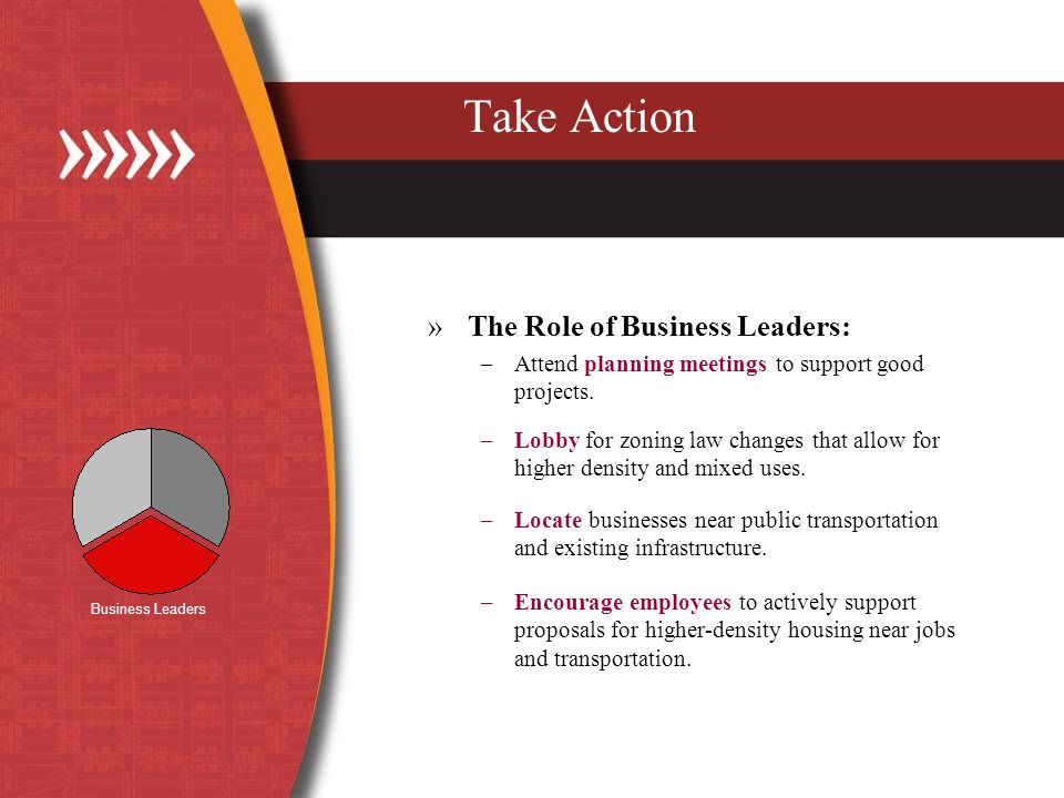 Take Action »The Role of Business Leaders: –Attend planning meetings to support good projects.