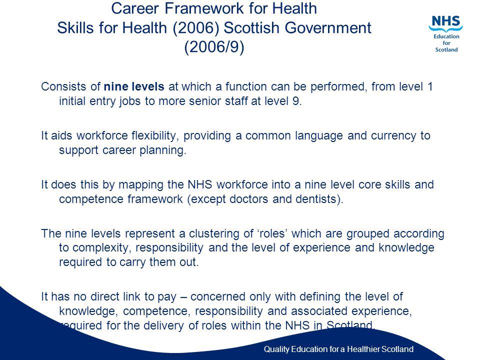Quality Education for a Healthier Scotland C A R E R F R A M E W O R K for H E A L T H