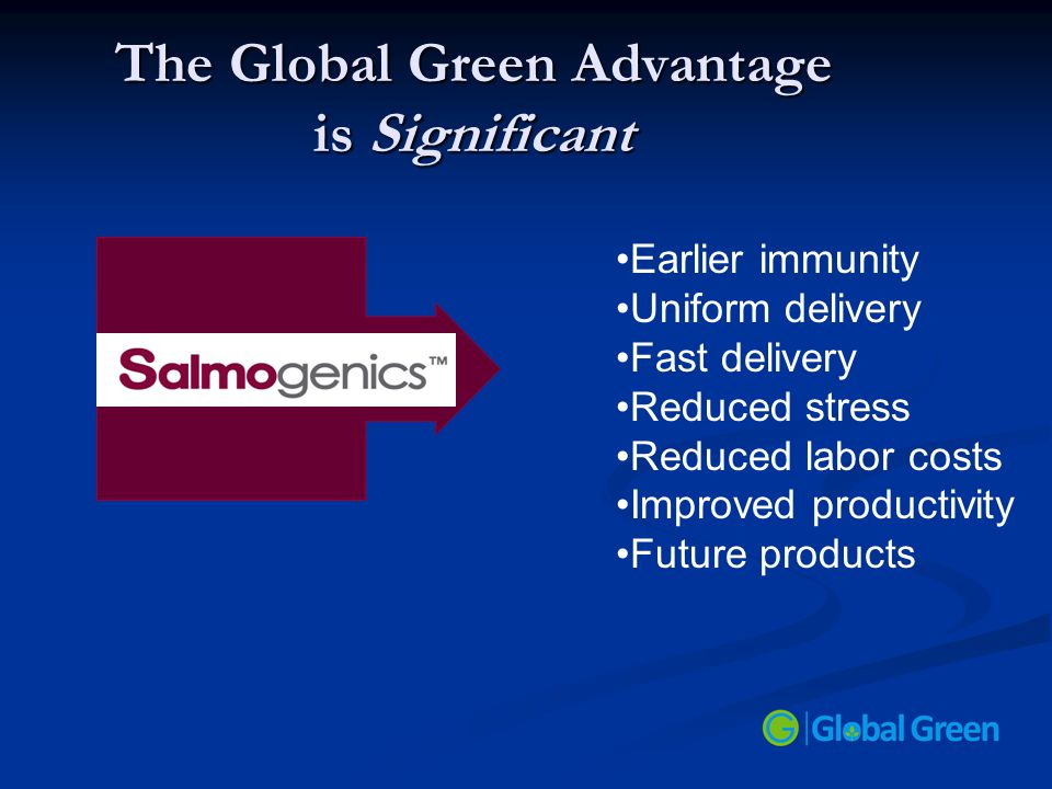 The Global Green Advantage is Significant Earlier immunity Uniform delivery Fast delivery Reduced stress Reduced labor costs Improved productivity Fut