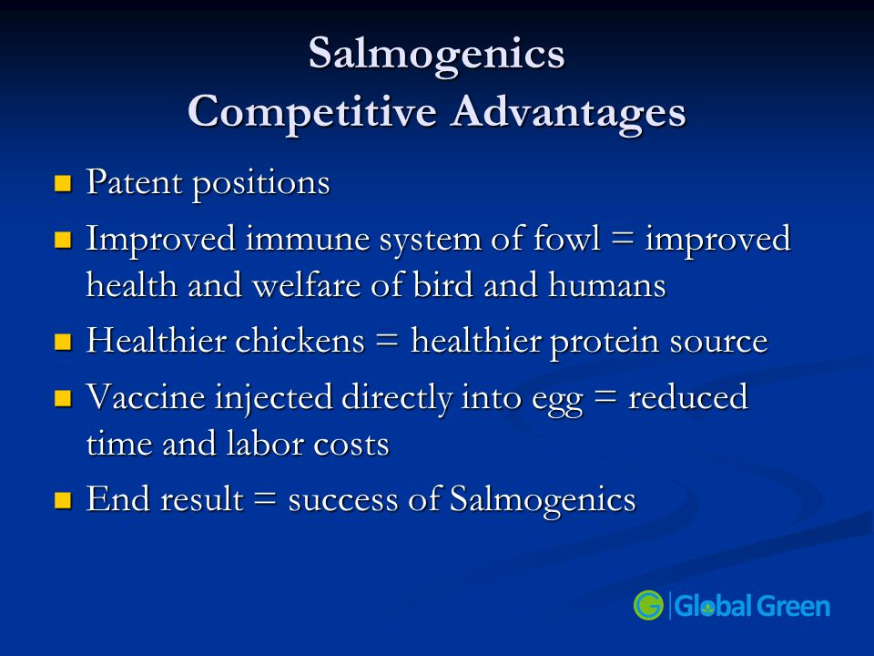 Salmogenics Competitive Advantages Patent positions Patent positions Improved immune system of fowl = improved health and welfare of bird and humans I