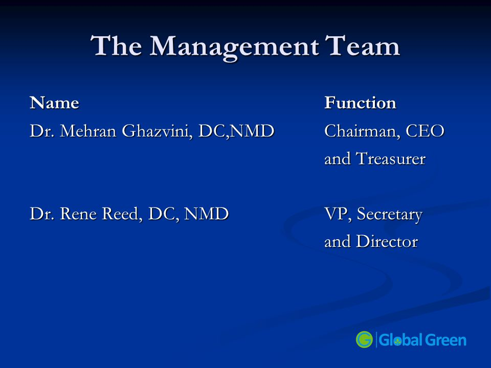 The Management Team Name Function Dr. Mehran Ghazvini, DC,NMDChairman, CEO and Treasurer Dr. Rene Reed, DC, NMD VP, Secretary and Director
