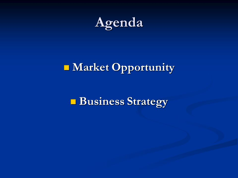 Agenda Market Opportunity Market Opportunity Business Strategy Business Strategy
