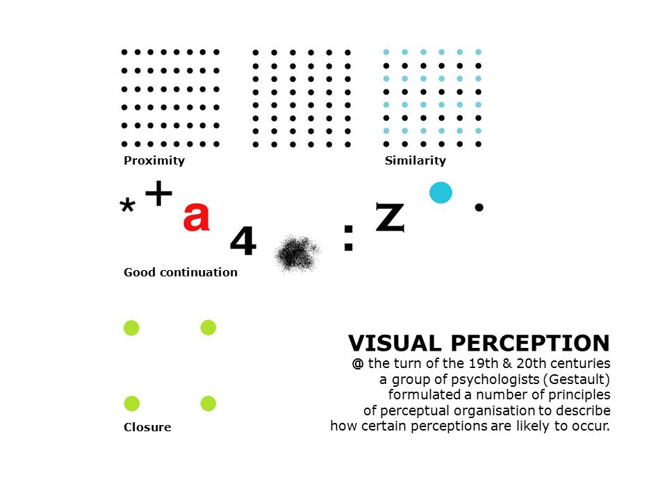 VISUAL PERCEPTION @ the turn of the 19th & 20th centuries a group of psychologists (Gestault) formulated a number of principles of perceptual organisation to describe how certain perceptions are likely to occur.