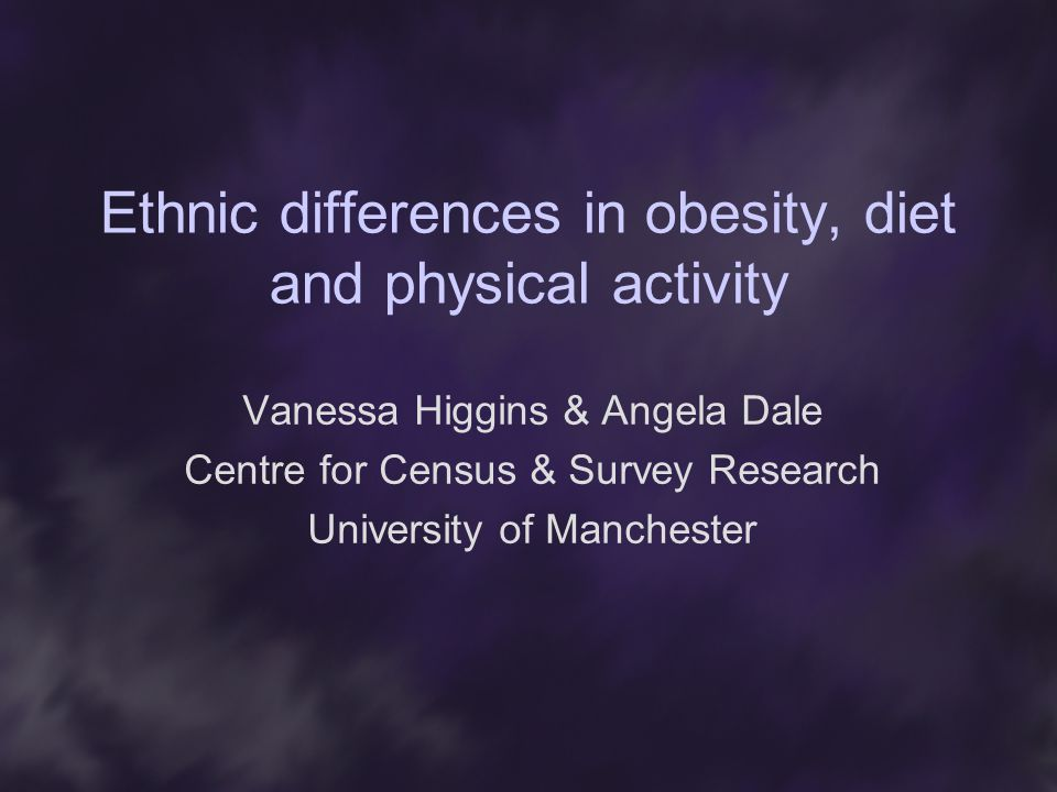 Ethnic differences in obesity, diet and physical activity Vanessa Higgins & Angela Dale Centre for Census & Survey Research University of Manchester
