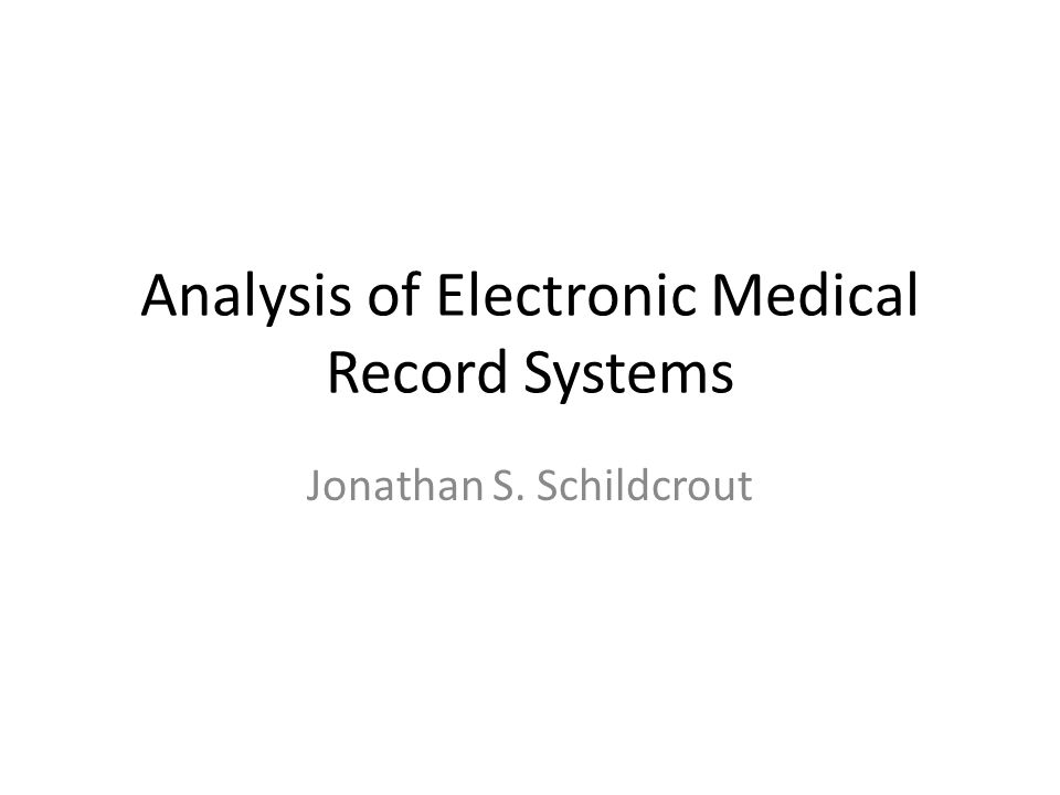Electronic Medical Records Facilitate communication – Improve outcomes, reduce preventable adverse events and death Permit decision support systems – Synthesize large amounts of information to provide alerts related to adverse events, patient safety, treatment course, etc.