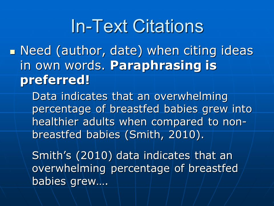 In-Text Citations Need pg.# when using direct quote (p.